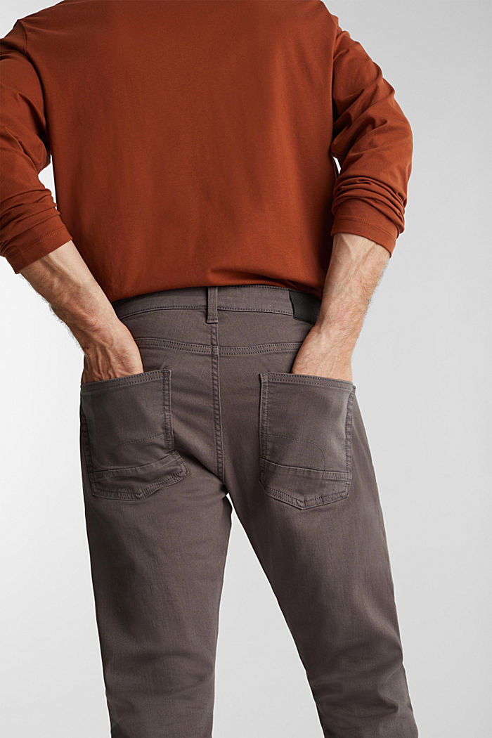 Stretch cotton trousers, DARK GREY, detail image number 2