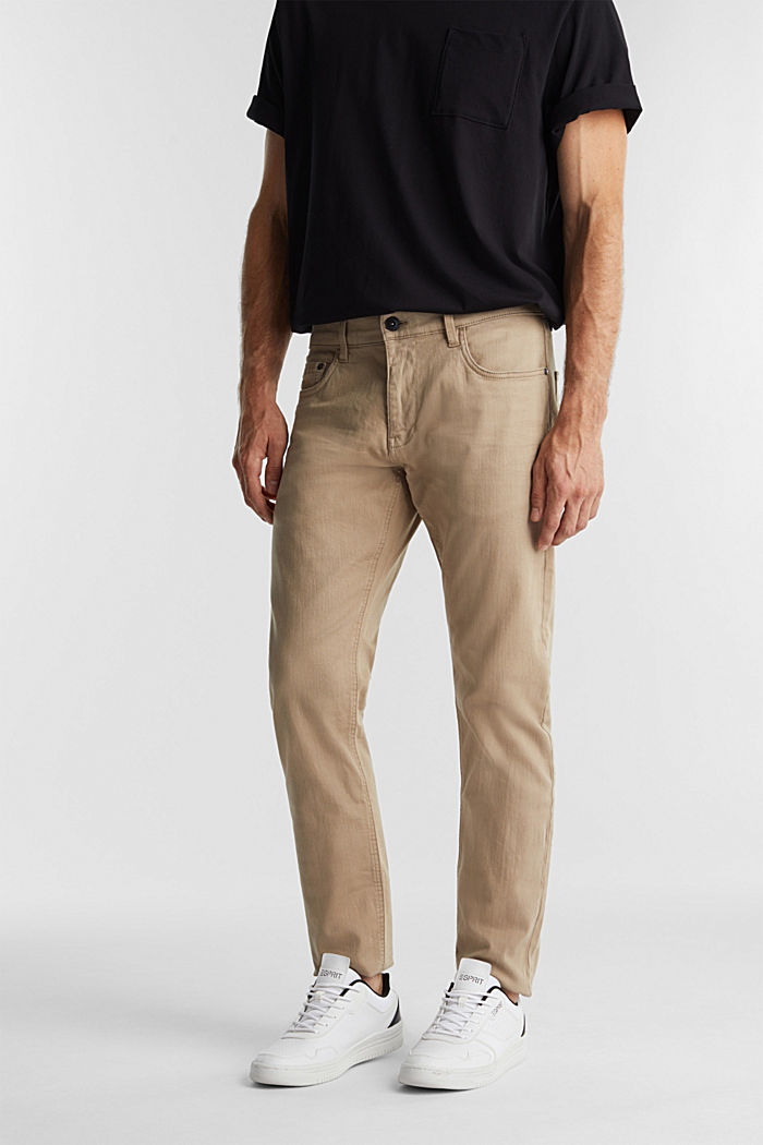 Stretch cotton trousers, LIGHT BEIGE, detail image number 0