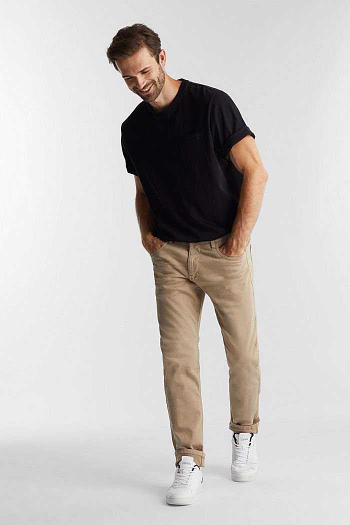 Stretch cotton trousers, LIGHT BEIGE, detail image number 1