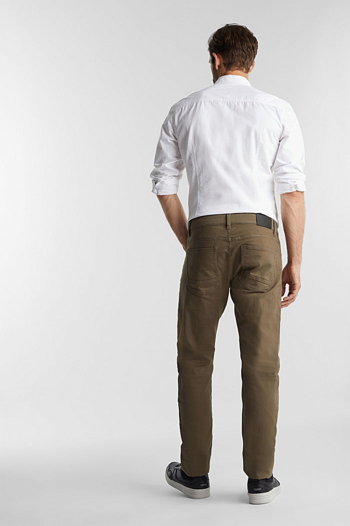 Stretch cotton trousers, DARK KHAKI, detail image number 3