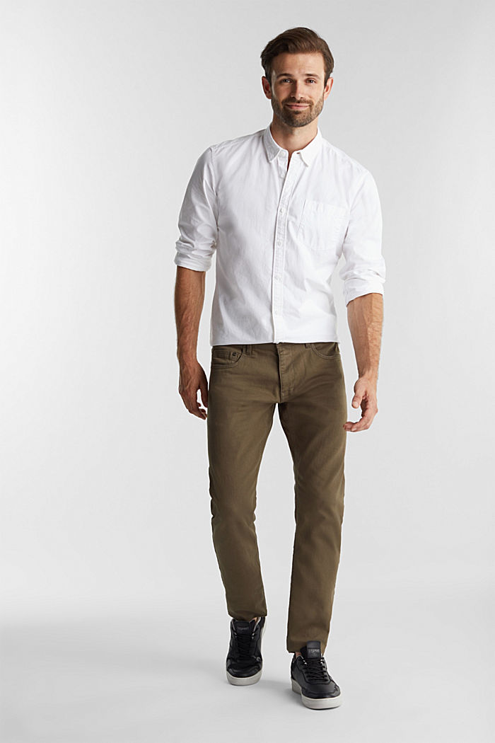 Stretch cotton trousers, DARK KHAKI, detail image number 1