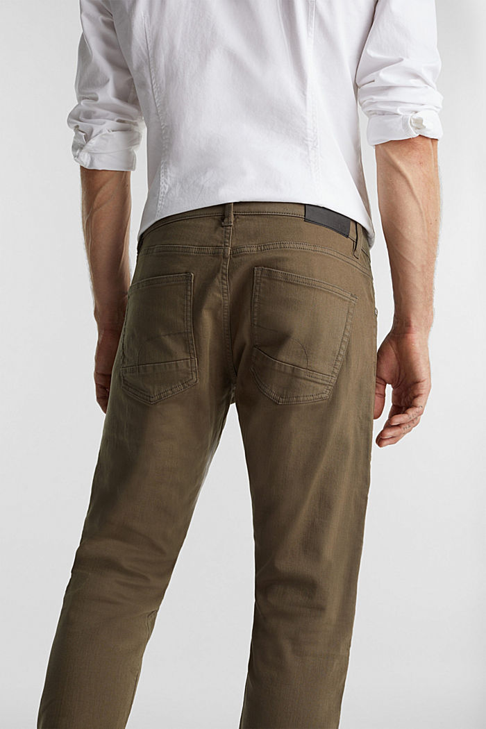 Stretch cotton trousers, DARK KHAKI, detail image number 2