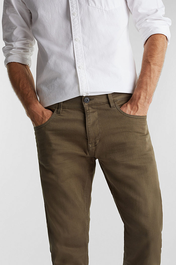 Stretch cotton trousers, DARK KHAKI, detail image number 5