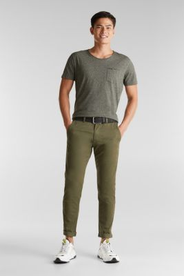 Stretch cotton chinos, DARK KHAKI, detail