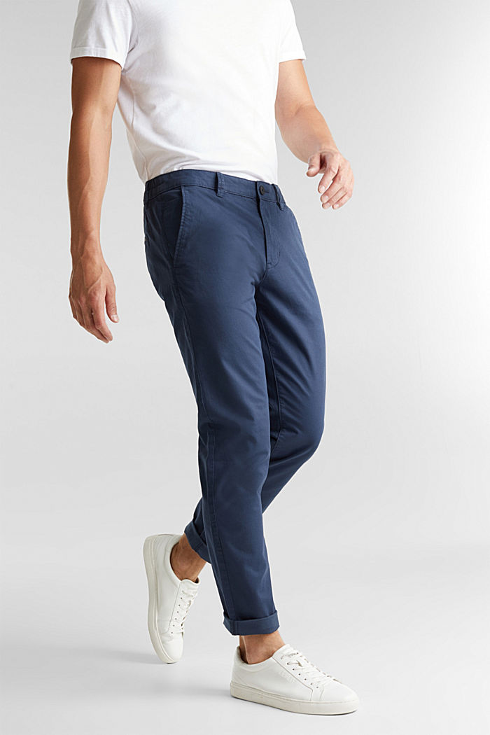 Stretch cotton chinos, GREY BLUE, detail image number 6