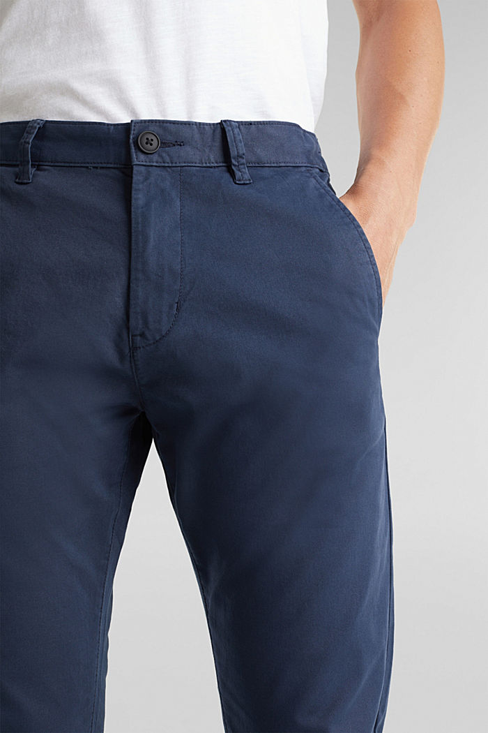Stretch cotton chinos, GREY BLUE, detail image number 2