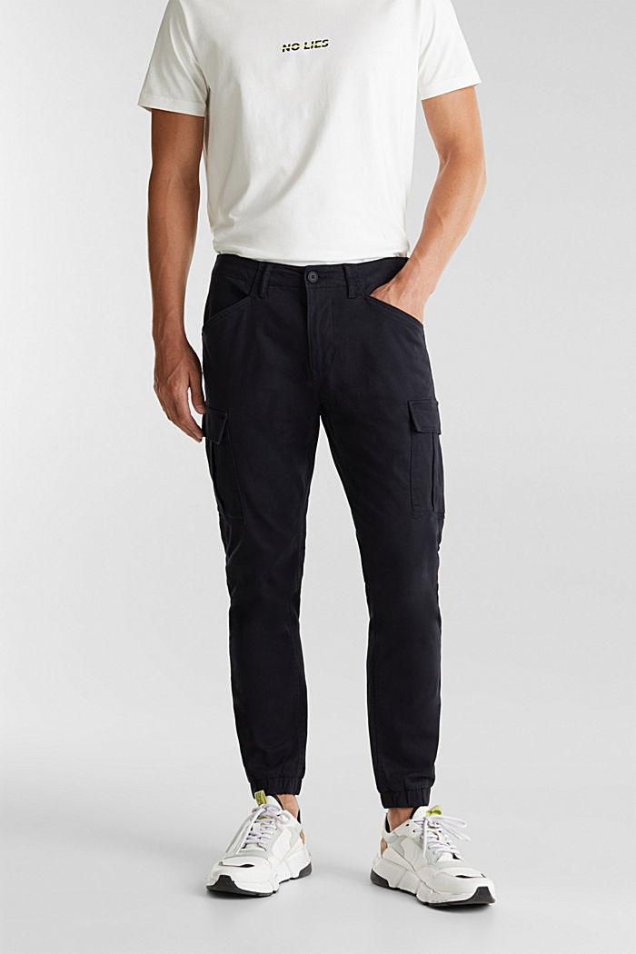 Cargo trousers containing organic cotton, BLACK, detail image number 0
