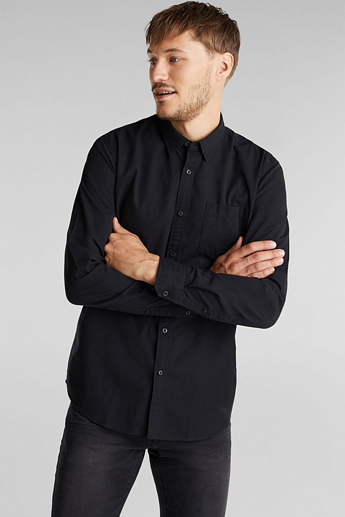 Twill shirt made of 100% organic cotton, BLACK, detail image number 0