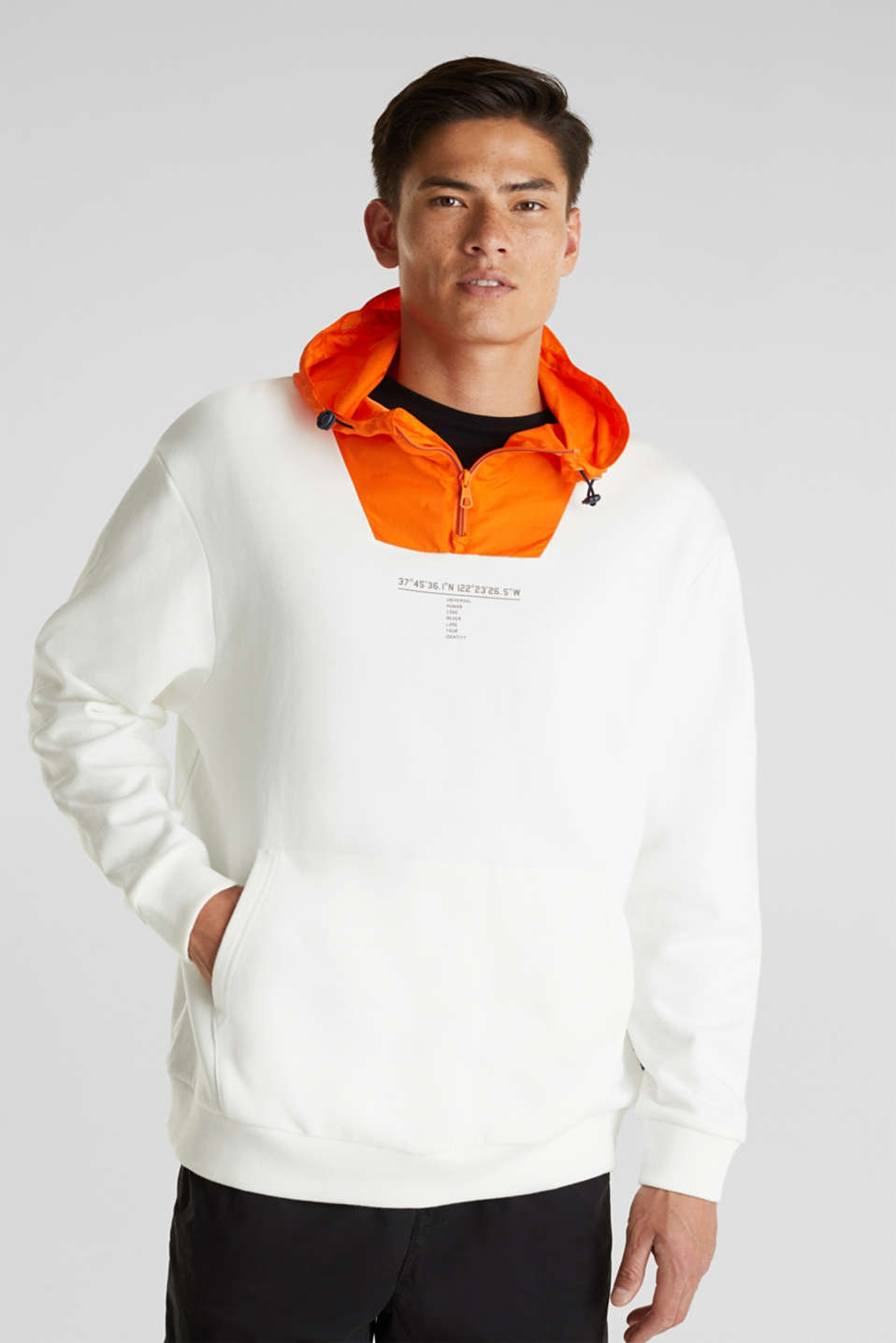 edc - Sweatshirt with a nylon hood