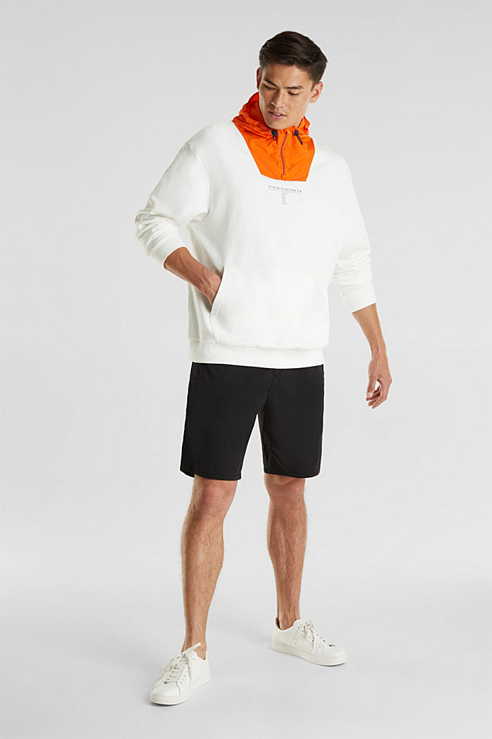 Sweatshirt with a nylon hood