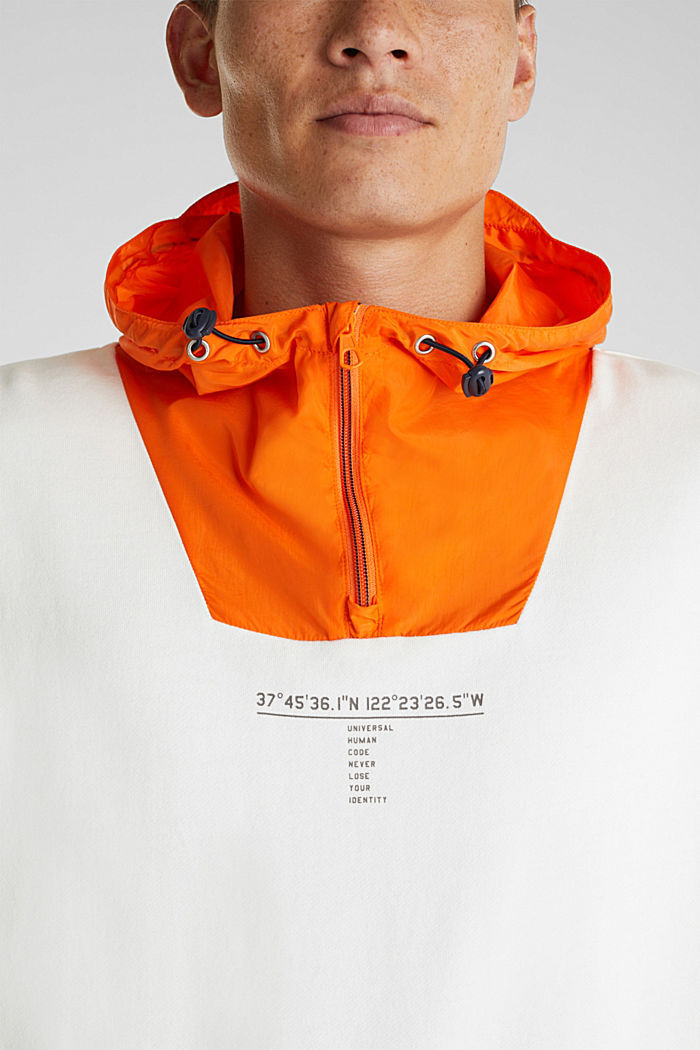 Sweatshirt mit Nylon-Kapuze, OFF WHITE, detail image number 2