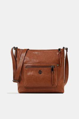 Faux leather shoulder bag, RUST BROWN, detail