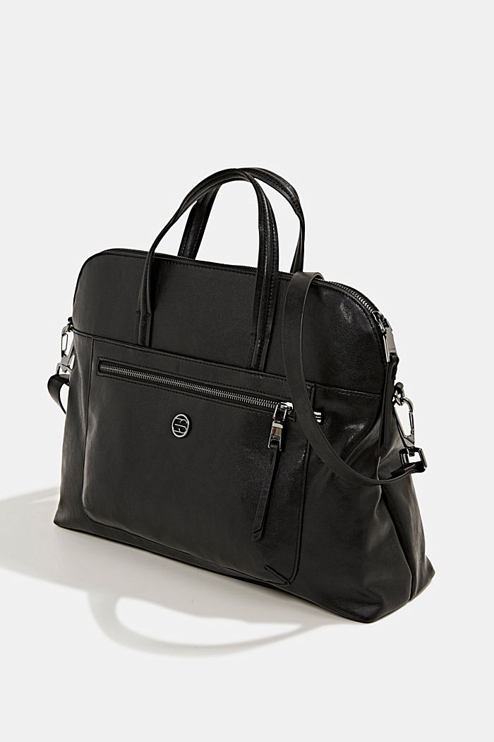 Business bag with a laptop pouch, vegan, BLACK, detail image number 2