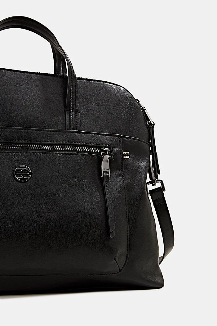 Business bag with a laptop pouch, vegan, BLACK, detail image number 3