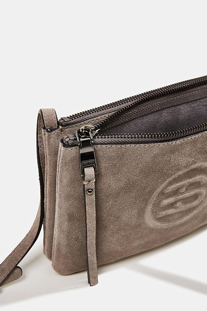 Shoulder bag made of 100% suede, ANTHRACITE, detail image number 4