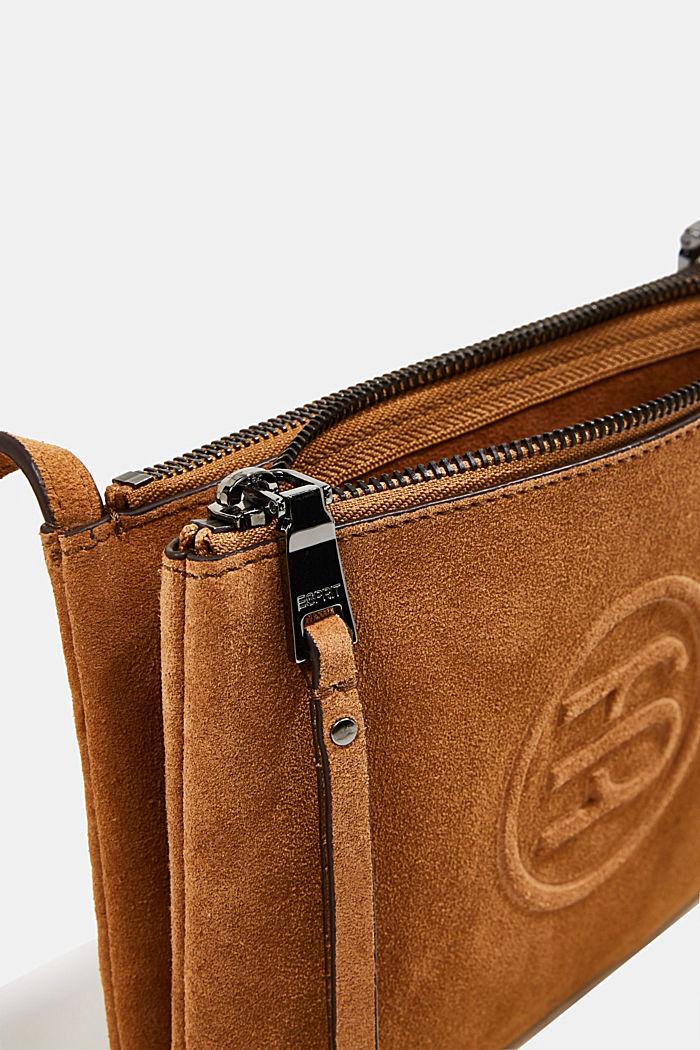 Kabelka přes rameno, 100% velurová kůže, RUST BROWN, detail image number 4