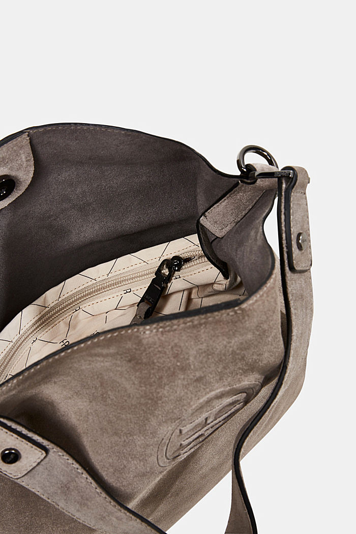 Hobo bag made of 100% suede, ANTHRACITE, detail image number 4