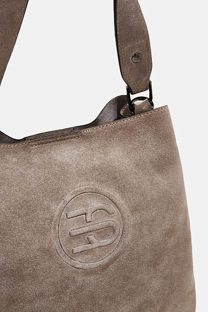 Hobo bag made of 100% suede, ANTHRACITE, detail image number 3