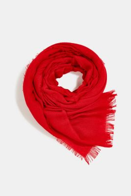 Recycled: Textured woven scarf, RED, detail