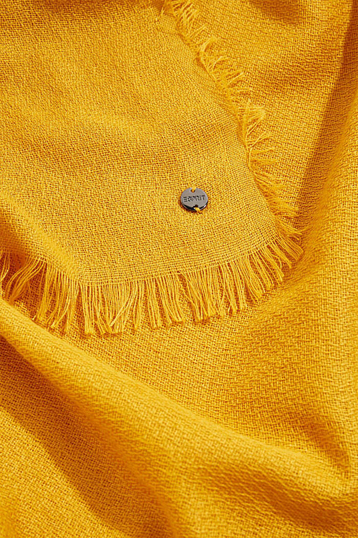Recycled: Textured woven scarf, BRASS YELLOW, detail image number 2