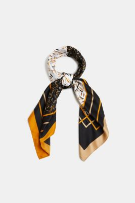 Recycled: satin scarf with a print, BLACK, detail