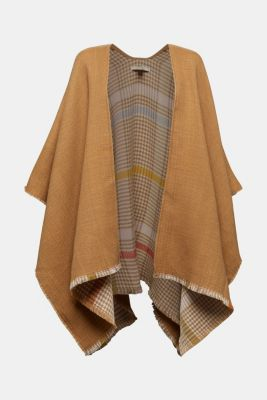 Poncho with a check pattern, BEIGE, detail