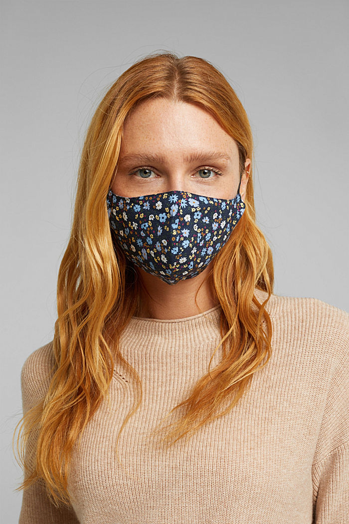 Face mask made of 100% organic cotton, NEW NAVY, detail image number 2