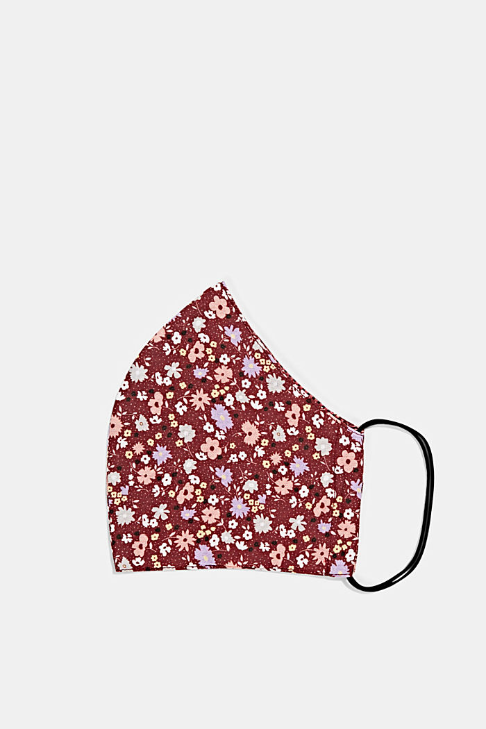 Face mask made of 100% organic cotton, BORDEAUX RED, detail image number 0