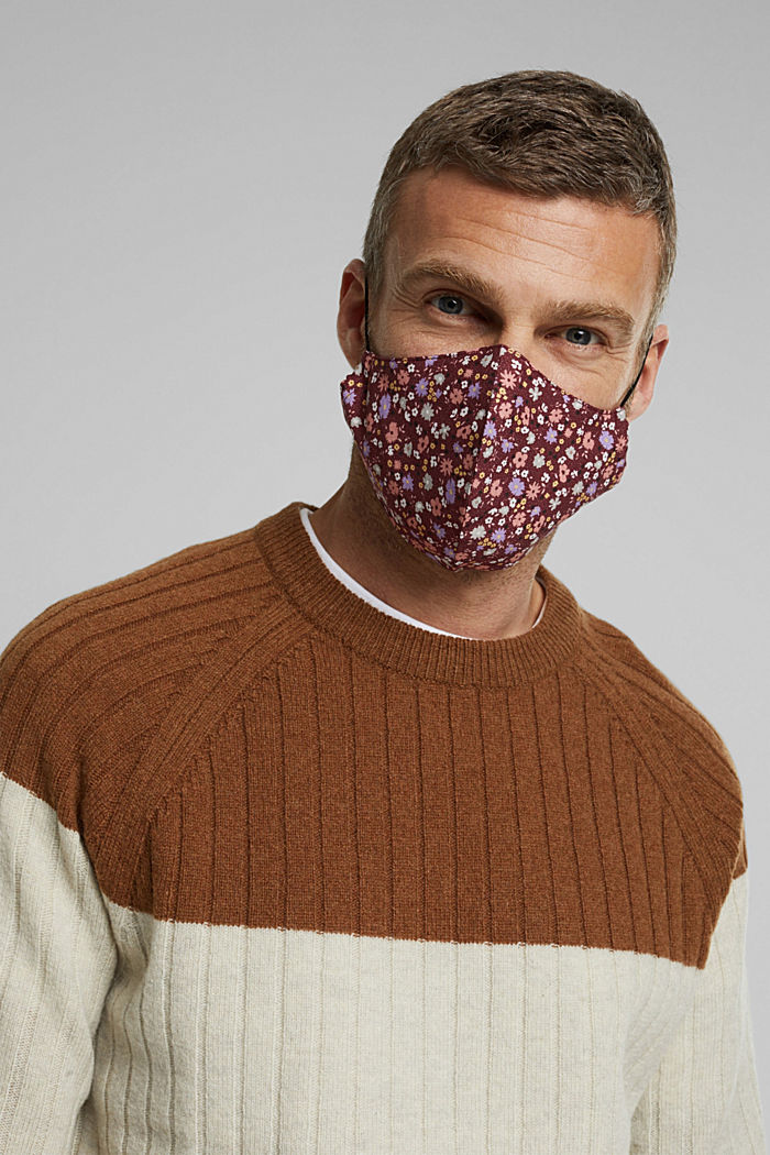 Face mask made of 100% organic cotton, BORDEAUX RED, detail image number 3
