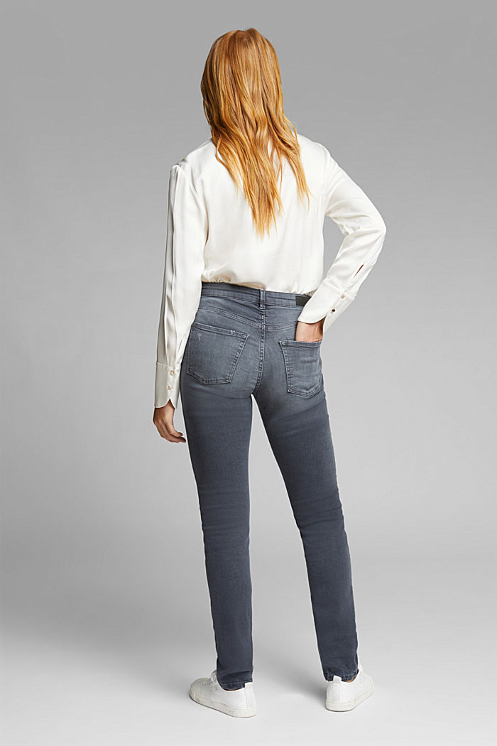 Hig-Rise-Jeans mit Bio-Baumwolle, GREY MEDIUM WASHED, detail image number 3