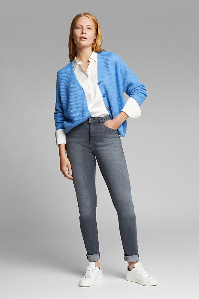 Hig-Rise-Jeans mit Bio-Baumwolle, GREY MEDIUM WASHED, detail image number 1
