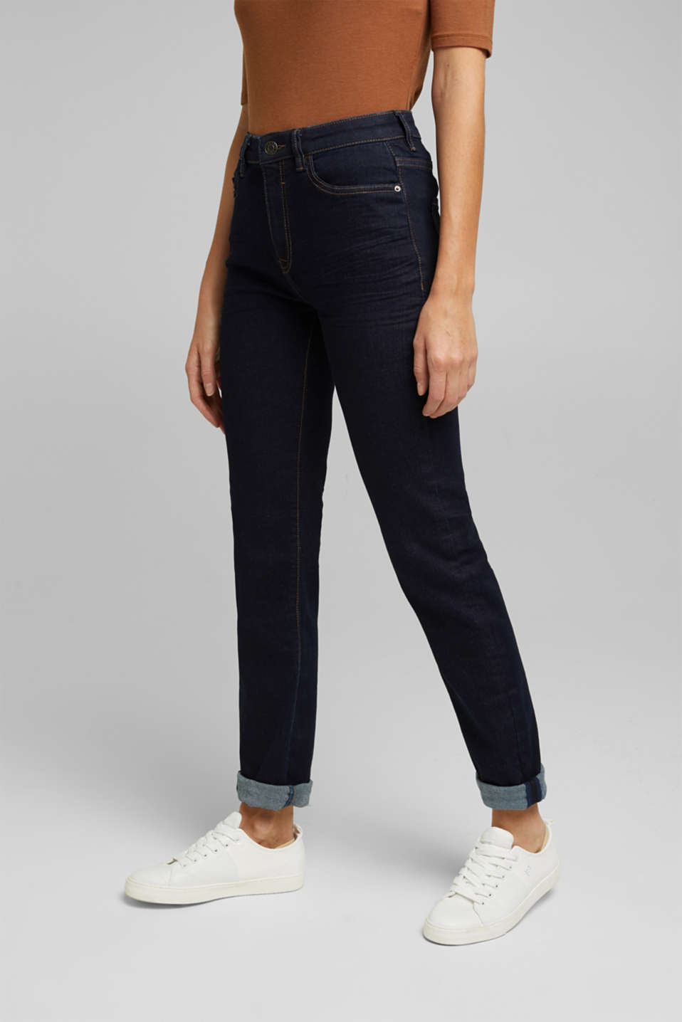 Esprit - High-waisted jeans with organic cotton