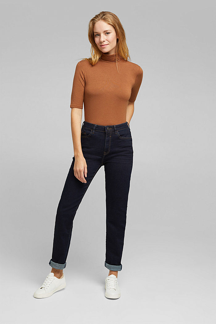 High-Waist-Jeans mit Bio-Baumwolle, BLUE RINSE, detail image number 6