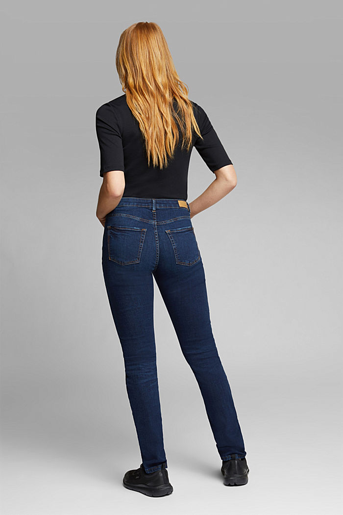 High-waisted jeans with organic cotton, BLUE DARK WASHED, detail image number 3