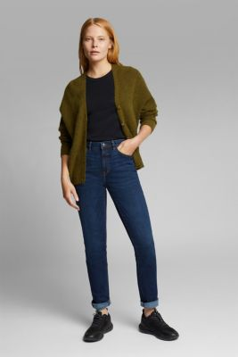 High-waisted jeans with organic cotton, BLUE DARK WASH, detail