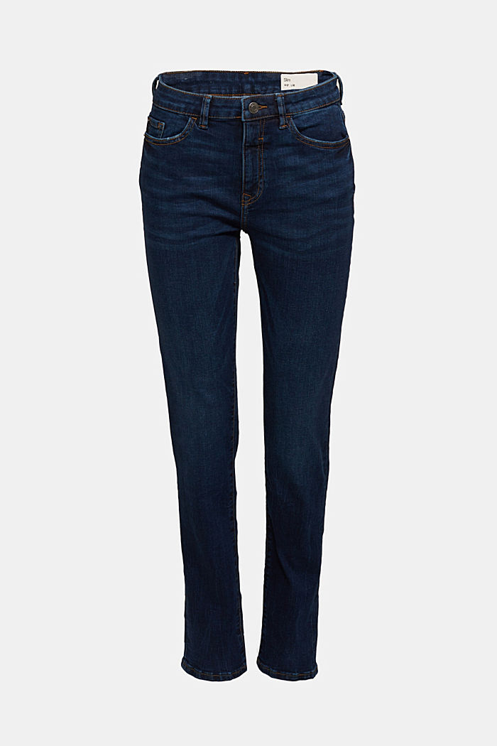 High-waisted jeans with organic cotton, BLUE DARK WASHED, detail image number 6