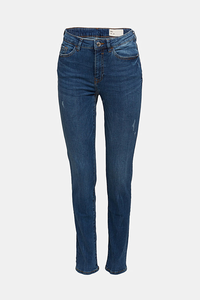 High-waisted jeans with organic cotton, BLUE MEDIUM WASHED, detail image number 6