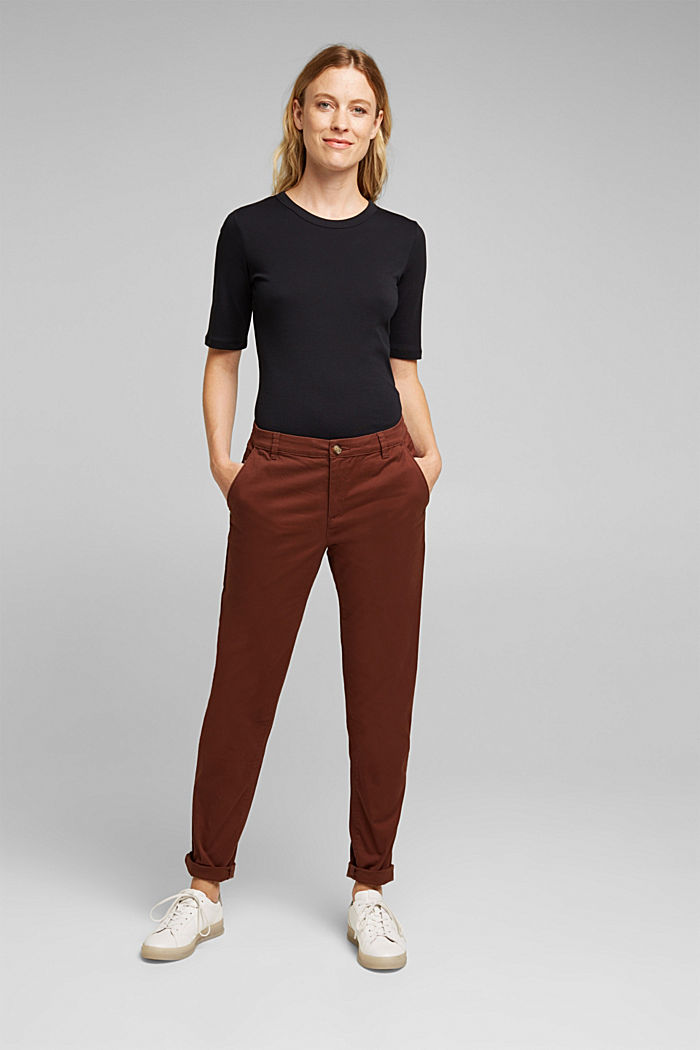Chinos with organic cotton, BROWN, detail image number 1