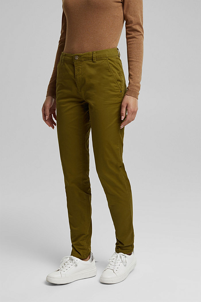 Chinos with organic cotton, OLIVE, detail image number 5