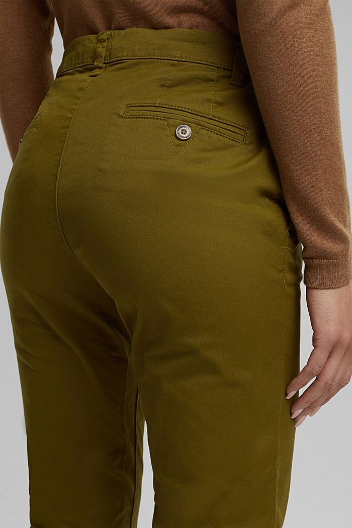 Chinos with organic cotton, OLIVE, detail image number 2