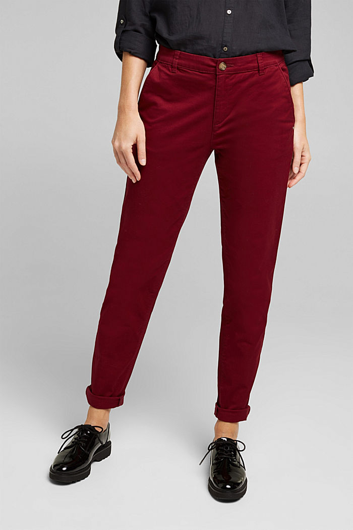 Chino mit Organic Cotton, BORDEAUX RED, detail image number 0