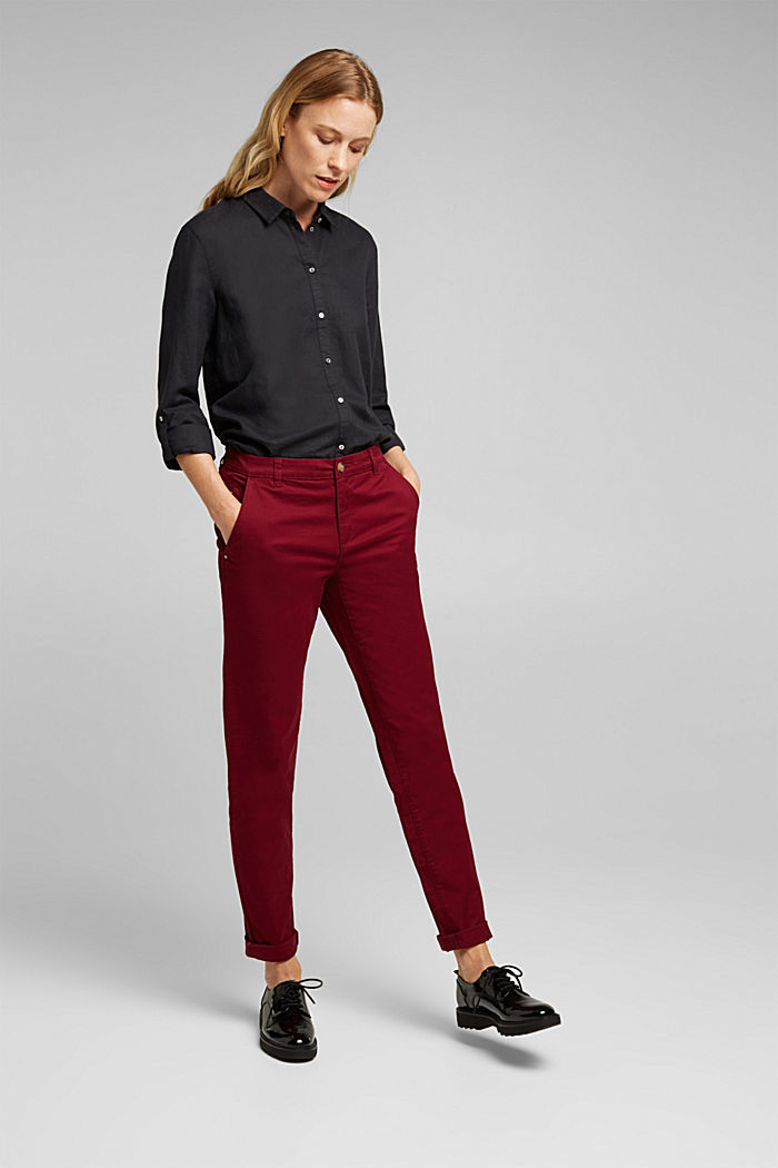 Chino mit Organic Cotton, BORDEAUX RED, detail image number 1