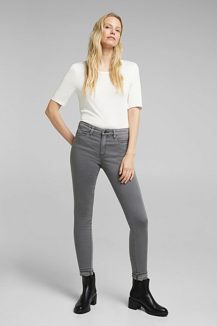 Stretch jeans containing organic cotton, GREY, detail image number 0
