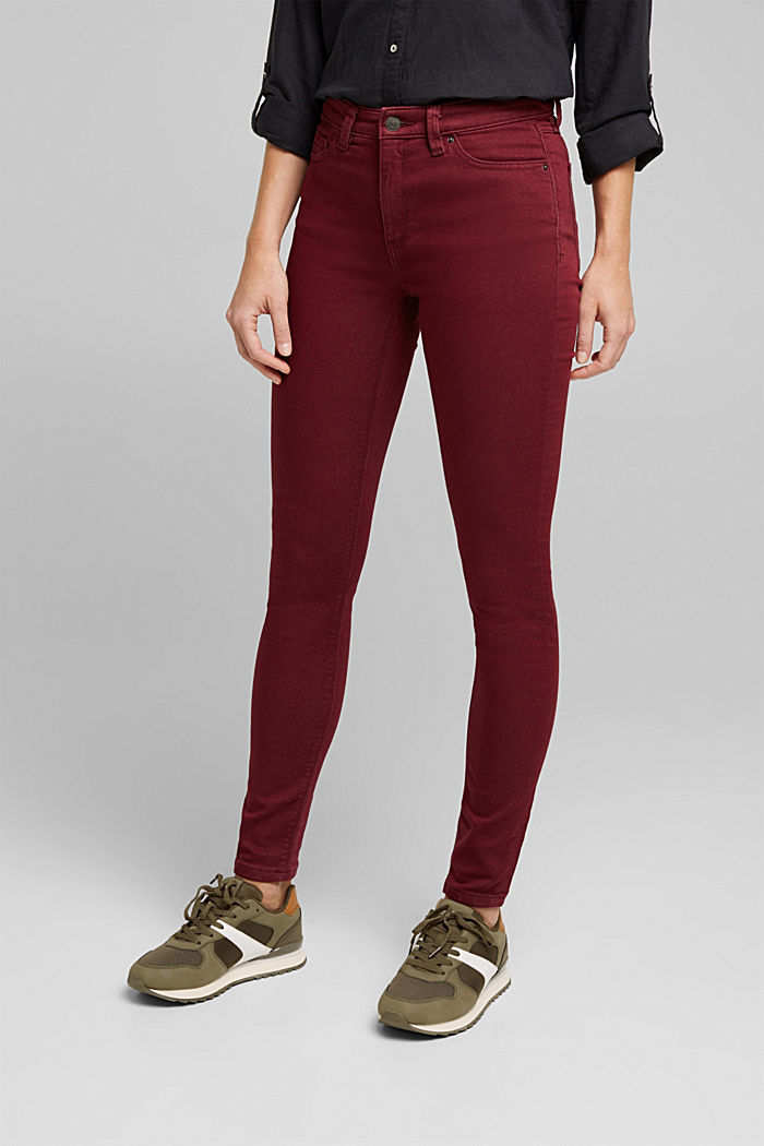 Stretch jeans containing organic cotton, BORDEAUX RED, detail image number 0
