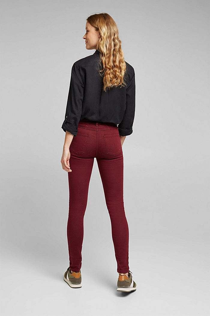 Stretch jeans containing organic cotton, BORDEAUX RED, detail image number 3
