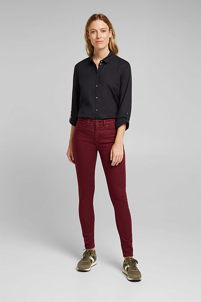 Stretch jeans containing organic cotton, BORDEAUX RED, detail image number 1