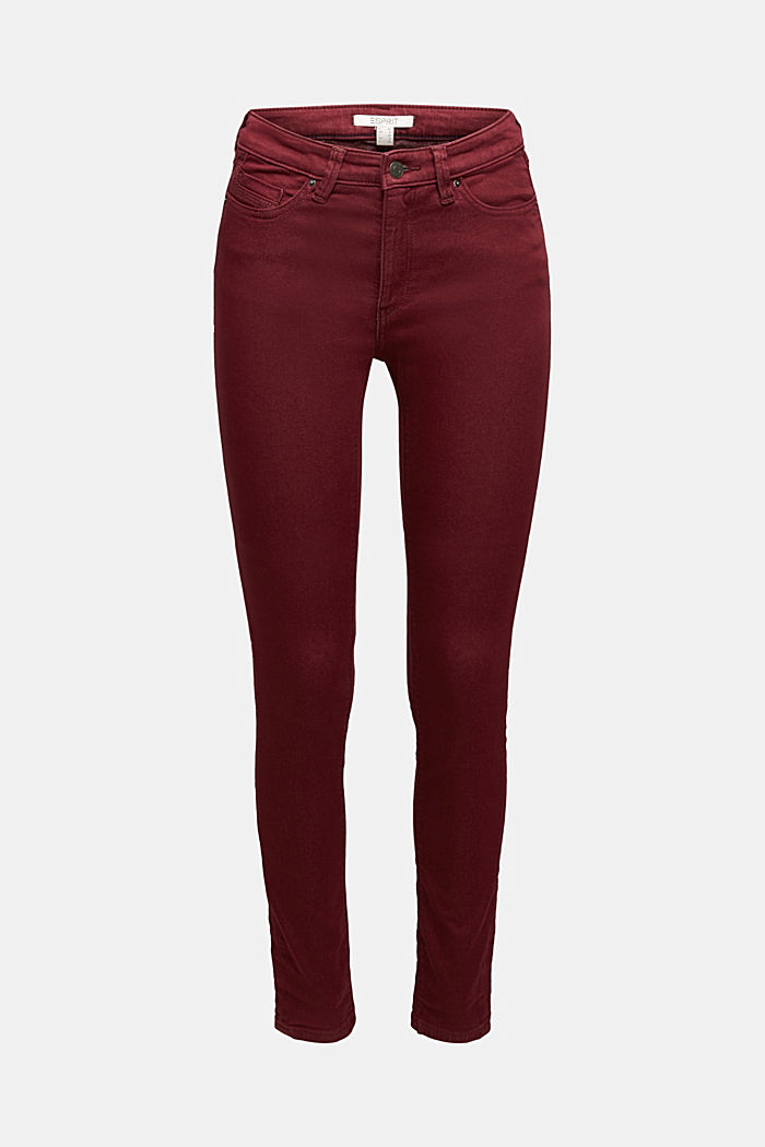 Stretch jeans containing organic cotton, BORDEAUX RED, detail image number 6