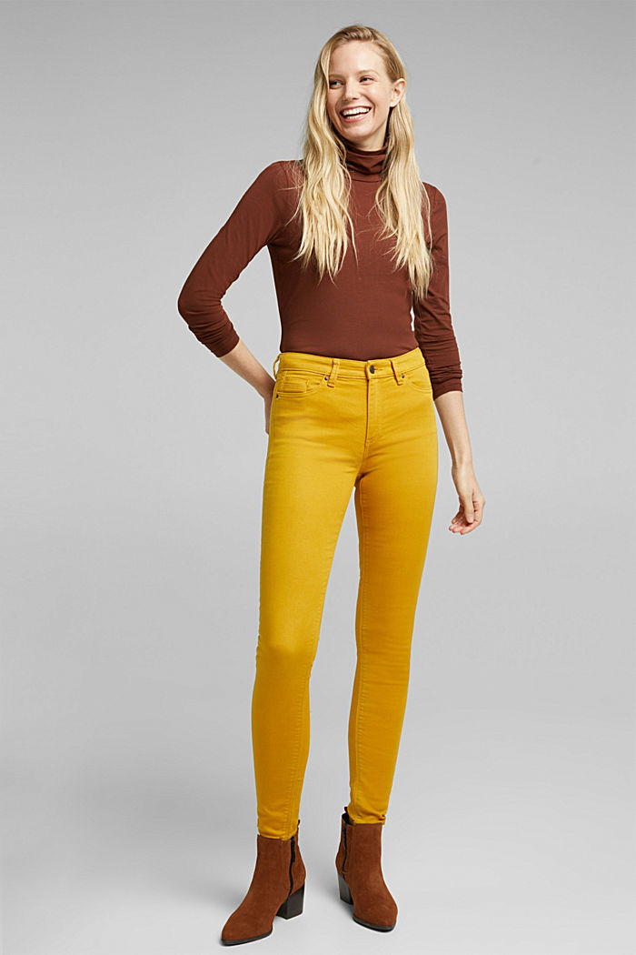Stretch jeans containing organic cotton, BRASS YELLOW, detail image number 0