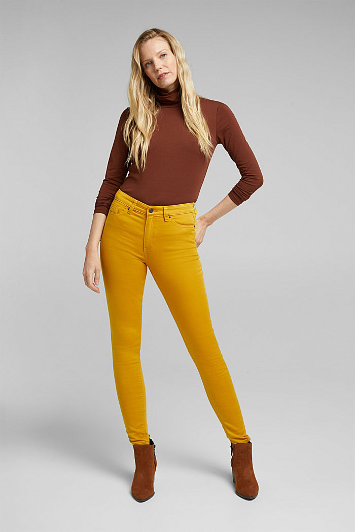 Stretch jeans containing organic cotton, BRASS YELLOW, detail image number 1
