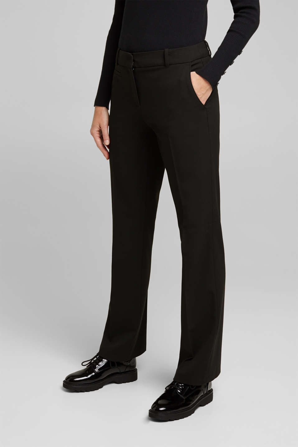 Esprit - Jersey trousers with stretch for comfort